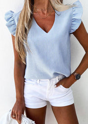 Striped Ruffled V-Neck Blouse without Necklace - Blue