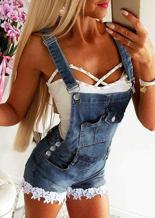 Lace Splicing Pocket Button Denim Overalls Romper - Blue