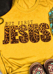But First Jesus Leopard T-Shirt Tee - Yellow