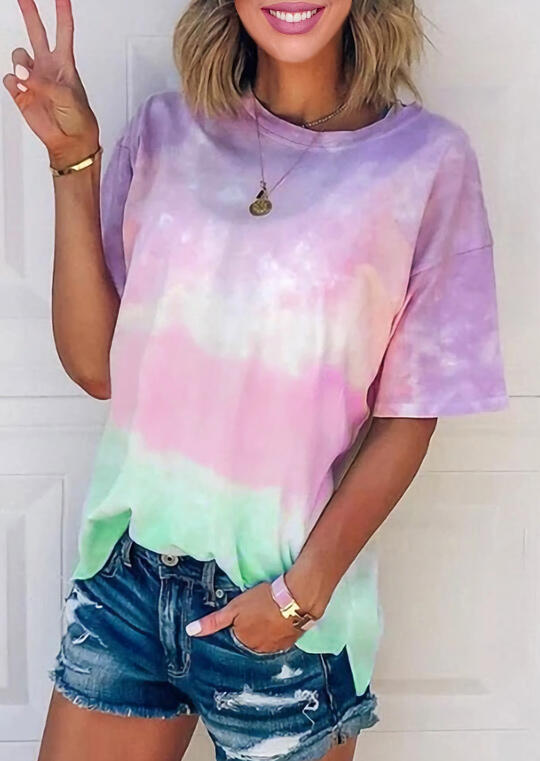 Tie Dye Gradient Color T-Shirt Tee without Necklace