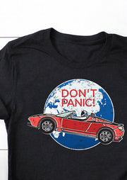 Don't Panic O-Neck T-Shirt Tee - Black