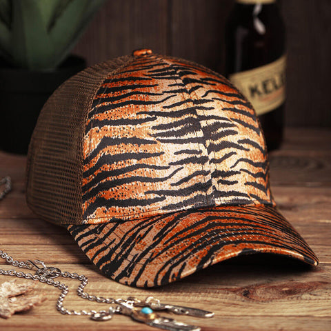 Leopard Tiger Mesh Hollow Out Baseball Hat