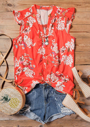 Floral Ruffled Hollow Out Button V-Neck Blouse without Necklace - Orange