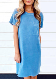 Pocket O-Neck Mini Dress - Blue