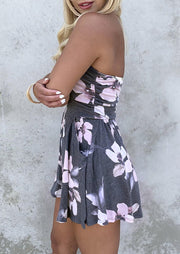 Floral Ruffled Pocket Strapless Open Back Romper - Gray