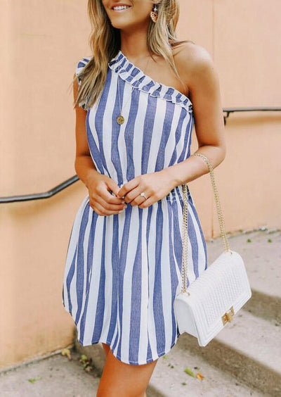 Striped Ruffled One Shoulder Mini Dress without Necklace