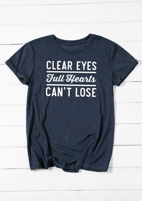 Clear Eyes Full Hearts Can't Lose T-Shirt Tee - Navy Blue