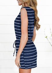 Striped Splicing Button Drawstring Pocket Romper