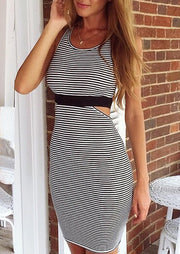 Striped Hollow Out Bodycon Dress without Necklace