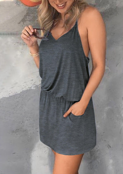 Drawstring Ruffled Pocket Spaghetti Strap Mini Dress - Gray