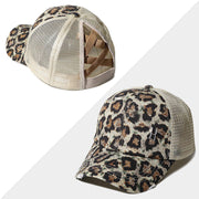 Leopard Mesh Criss-Cross Hollow Out Baseball Cap