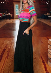 Colorful Striped Splicing Ruffled Pocket Maxi Dress - Black