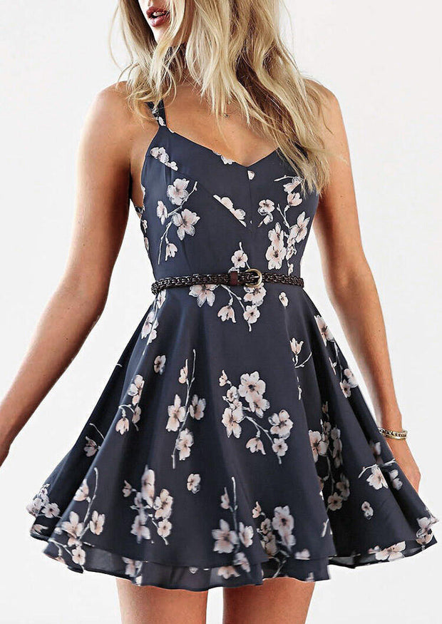 Floral Criss-Cross Ruffled Open Back Mini Dress without Necklace - Navy Blue