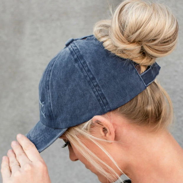 Fashion Hollow Out Ripped Washed Denim Baseball Cap