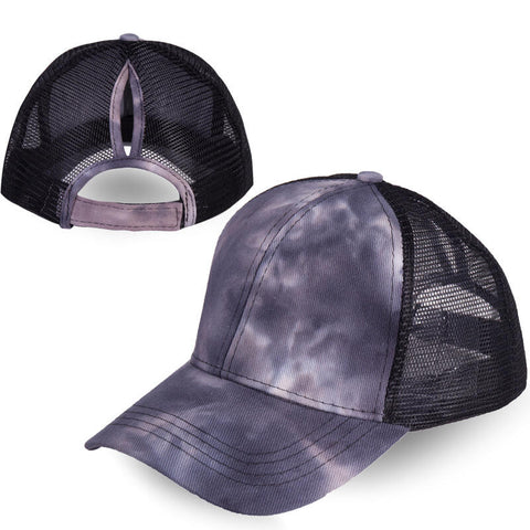 Tie Dye Mesh Splicing Hollow Out Baseball Cap