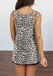 Presale - Leopard Hollow Out Camisole without Necklace