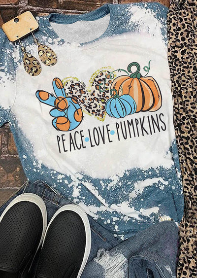 Thanksgiving Leopard Peace Love Pumpkins Bleached T-Shirt Tee - White