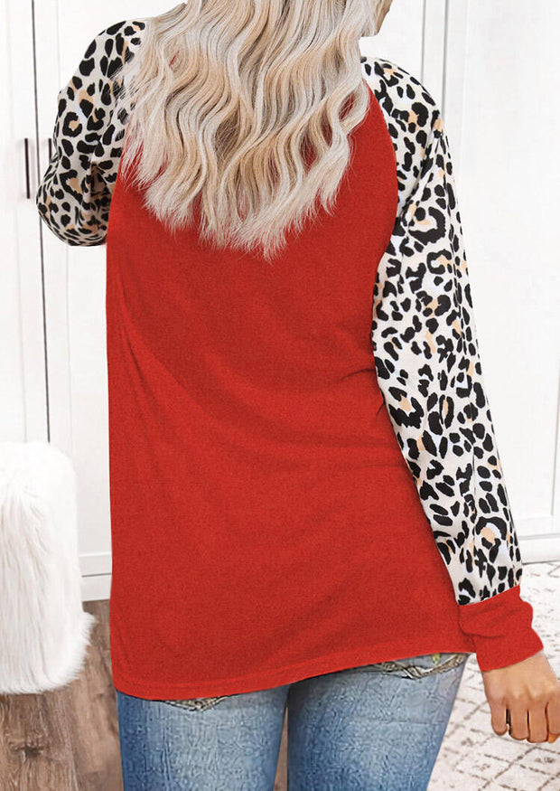 Christmas Leopard Sequined Splicing Reindeer Blouse - Red