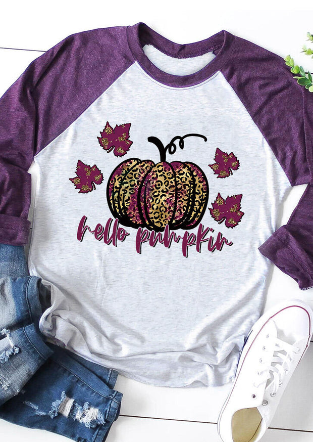 Thanksgiving Leopard Pumpkin Maple Leaf T-Shirt Tee - Purple