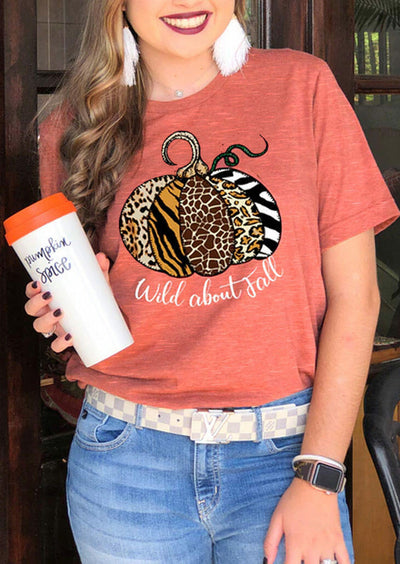 Thanksgiving Leopard Pumpkin Wild About Fall T-Shirt Tee - Brick Red