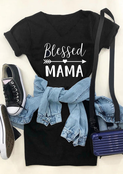 Blessed Mama Arrow Heart Mini Dress - Black