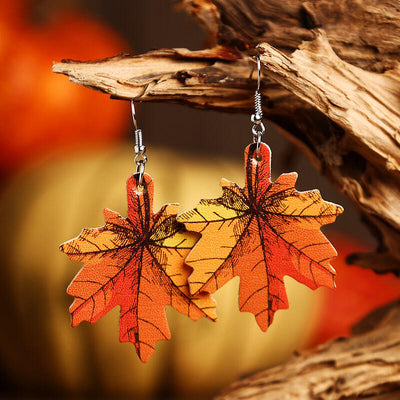 Thanksgiving Maple Leaf Plaid Leather Earrings