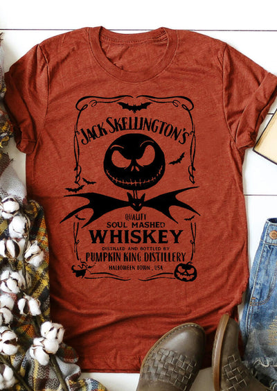 Halloween Pumpkin Bat Whiskey T-Shirt Tee - Orange