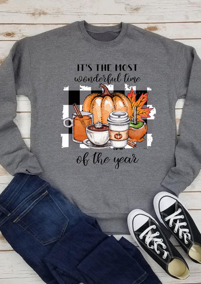 Thanksgiving Pumpkin Maple Leaf Plaid Letter Sweatshirt - Gray