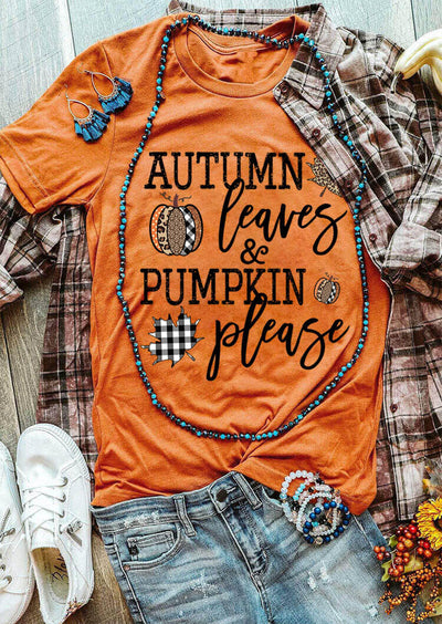 Thanksgiving Leopard Plaid Pumpkin Leaves Letter T-Shirt Tee - Orange