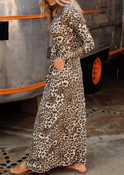 Leopard Ruffled Pocket Long Sleeve Maxi Dress