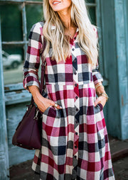 Plaid Button Pocket Tab-Sleeve Casual Dress