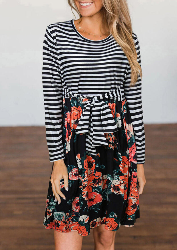 Striped Floral Splicing Tie Front Long Sleeve Mini Dress