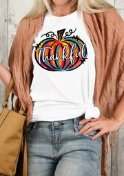 Thankful Colorful Doodle Pumpkin T-Shirt Tee - White