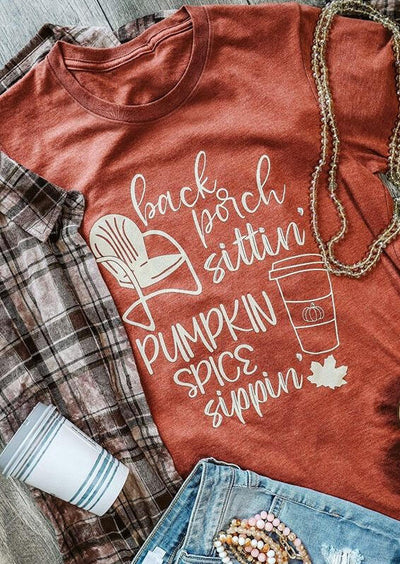 Thanksgiving Pumpkin Spice Maple Leaf T-Shirt Tee - Orange
