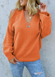 Cold Shoulder Twist Knitted Sweater - Orange