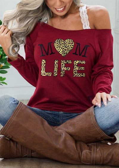 Mom Life Leopard Heart Slash Neck Blouse - Burgundy