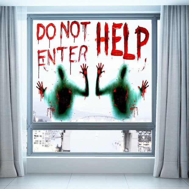 2Pcs Halloween Sticker Do Not Enter Giant Bloody Window Poster