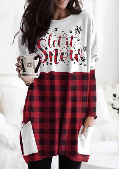 Christmas Buffalo Plaid Splicing Pocket Let It Snow Paw Mini Dress
