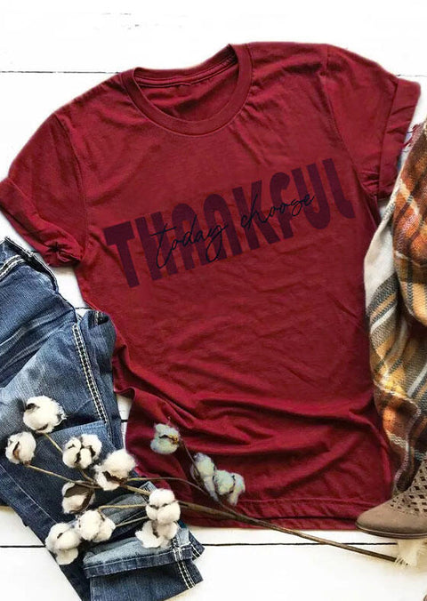 Thanksgiving Letter O-Neck T-Shirt Tee - Burgundy