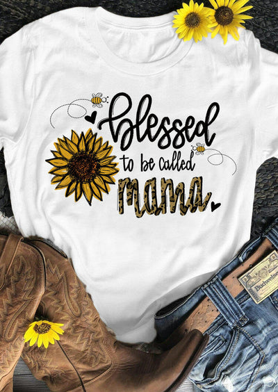 Thanksgiving Sunflower Leopard Blessed Mama T-Shirt Tee - White