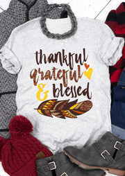 Thankful Grateful & Blessed Feather T-Shirt Tee - Light Grey