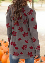 Thanksgiving Maple Leaf Long Sleeve Casual Cardigan - Coffee