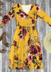 Floral Ruffled V-Neck Wrap Casual Dress - Yellow