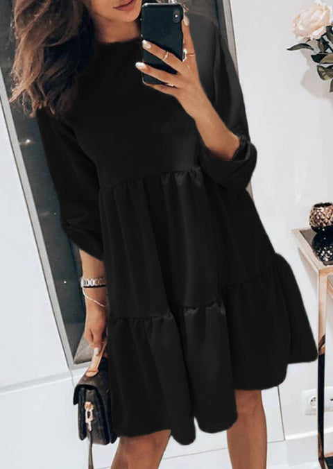 Ruffled Button O-Neck Tab-Sleeve Mini Dress - Black