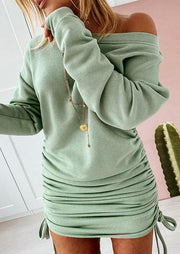 Ruched Drawstring Long Sleeve Bodycon Dress - Light Green