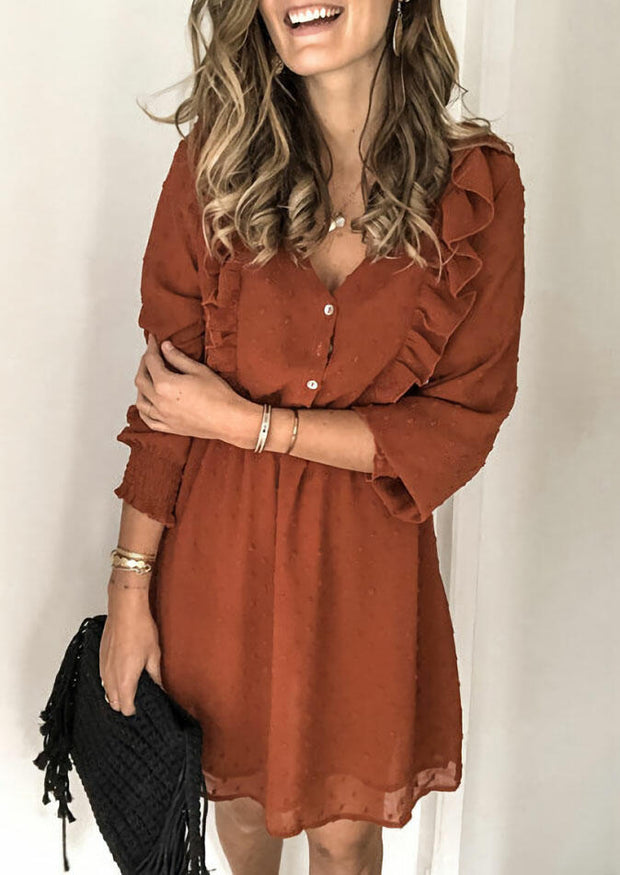 Ruffled Button Elastic Cuff Mini Dress - Brown