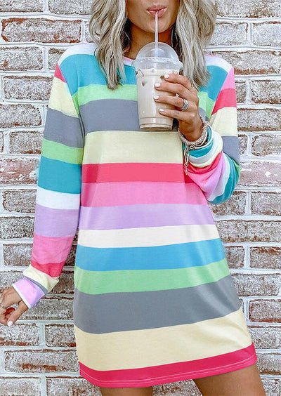 Striped Color Block Long Sleeve Mini Dress