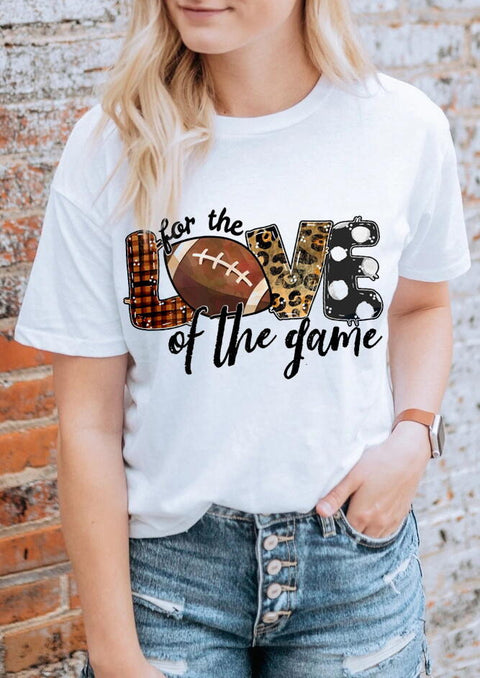 Leopard Plaid Football For The Love Of The Game T-Shirt Tee - White