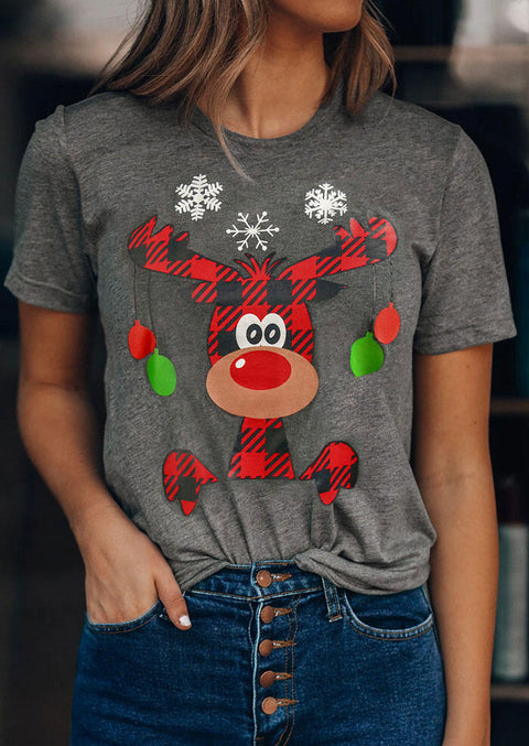 Christmas Plaid Reindeer Snowflake T-Shirt Tee - Dark Grey