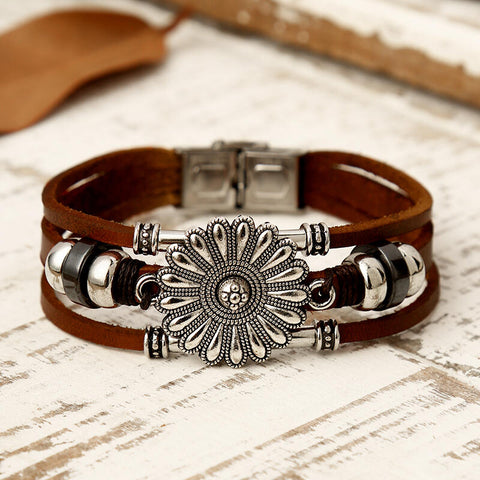 Sunflower Leaf Beading Multi-Layered Leather Bracelet